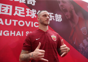 Austrian player Marko Arnautovic poses at an event held to introduce him as a new player for Chinese Super League football team Shanghai SIPG, in Shanghai on July 11, 2019. - Arnautovic completed a move from West Ham to Shanghai SIPG on July 9. (Photo by STR / AFP) / China OUT        (Photo credit should read STR/AFP via Getty Images)