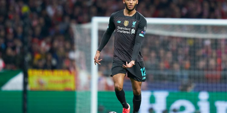 MADRID, SPAIN - FEBRUARY 18: Joe Gomez of Liverpool FC controls the ball during the UEFA Champions League round of 16 first leg match between Atletico Madrid and Liverpool FC at Wanda Metropolitano on February 18, 2020 in Madrid, Spain. (Photo by Mateo Villalba/Quality Sport Images/Getty Images)