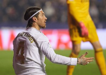 Sergio Ramos of Real Madrid reacts during the La Liga Santander match between Levante and Real Madrid at Estadio Ciutat de Valencia on February 22, 2020 in Valencia, Spain
