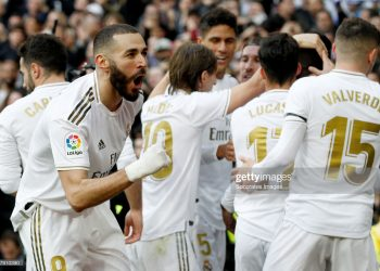 MADRID, SPAIN - FEBRUARY 1: Karim Benzema of Real Madrid celebrates 1-0  during the La Liga Santander  match between Real Madrid v Atletico Madrid at the Santiago Bernabeu on February 1, 2020 in Madrid Spain (Photo by David S. Bustamante/Soccrates/Getty Images)