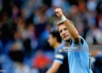 ROME, ITALY - FEBRUARY 02:  Ciro Immobile of SS Lazio celebrates after scoring the team's third goal during the Serie A match between SS Lazio and SPAL at Stadio Olimpico on February 2, 2020 in Rome, Italy.  (Photo by Paolo Bruno/Getty Images)