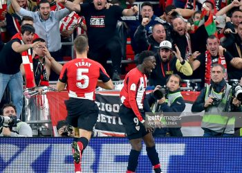 Athletic Bilbao's Spanish forward Inaki Williams celebrates his goal during the Spanish Copa del Rey (King's Cup) quarter-final football match Athletic Club Bilbao against FC Barcelona at the San Mames stadium in Bilbao on February 06, 2020. (Photo by ANDER GILLENEA / AFP) (Photo by ANDER GILLENEA/AFP via Getty Images)