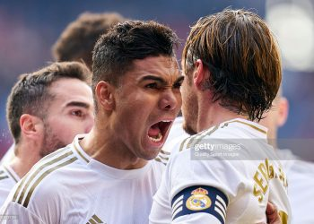 PAMPLONA, SPAIN - FEBRUARY 09: Sergio Ramos of Real Madrid CF celebrates after scoring his team's second goal during the Liga match between CA Osasuna and Real Madrid CF at El Sadar Stadium on February 09, 2020 in Pamplona, Spain. (Photo by Quality Sport Images/Getty Images)