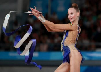 BUENOS AIRES, ARGENTINA - OCTOBER 10: Yulia Vodopyanova of Armenia competes in ribbon in Multidiscipline Team Event Final  during Day 4 of Buenos Aires 2018 Youth Olympic Games at America Pavilion of Youth Olympic Park on October 10, 2018 in Buenos Aires, Argentina. (Photo by Buda Mendes/Getty Images)