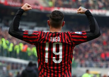 MILAN, ITALY - JANUARY 19:  Theo Hernandez of AC Milan celebrates his goal during the Serie A match between AC Milan and Udinese Calcio at Stadio Giuseppe Meazza on January 19, 2020 in Milan, Italy.  (Photo by Marco Luzzani/Getty Images)