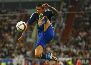 Argentina's Angel Di Maria kicks the ball during the friendly soccer match against Germany in Duesseldorf September 3, 2014.               REUTERS/Kai Pfaffenbach (GERMANY - Tags: SPORT SOCCER TPX IMAGES OF THE DAY)