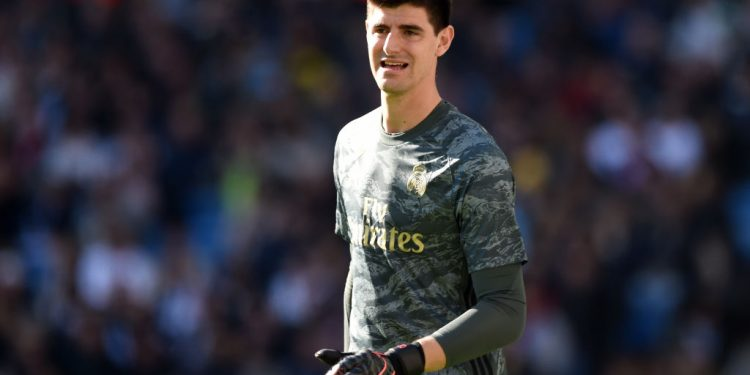 MADRID, SPAIN - DECEMBER 07: Thibaut Courtois of Real Madrid looks on during the La Liga match between Real Madrid CF and RCD Espanyol at Estadio Santiago Bernabeu on December 07, 2019 in Madrid, Spain. (Photo by Denis Doyle/Getty Images)
