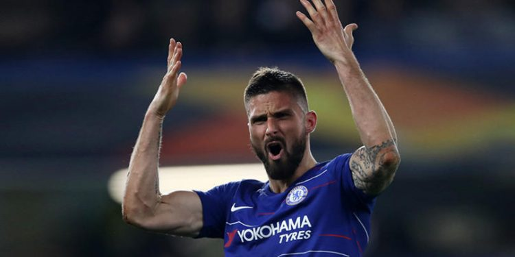 Chelsea's Olivier Giroud reacts during the UEFA Europa League, Semi Final, Second Leg at Stamford Bridge, London.