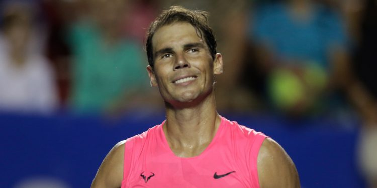 (200226) -- ACAPULCO, Feb. 26, 2020 (Xinhua) -- Rafael Nadal of Spain reacts after the men's singles first round match against Pablo Andujar of Spain at the 2020 ATP Mexican Open tennis tournament in Acapulco, Mexico, Feb. 25, 2020. (Xinhua/Francisco Canedo)