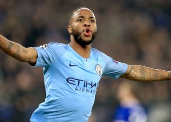 Manchester City's Raheem Sterling celebrates scoring his sides third goal of the game