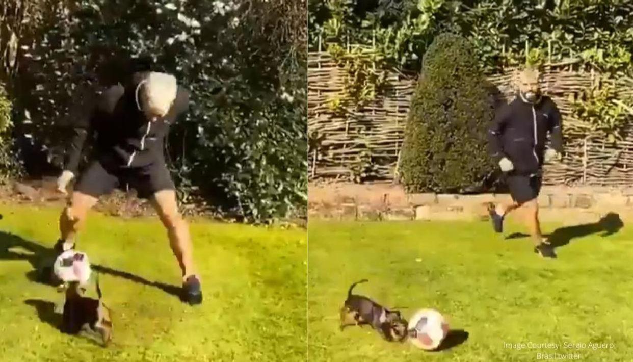 Ինչպես է Ագուերոն տանը մարզվում իր շան հետ