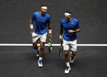 PRAGUE, CZECH REPUBLIC - SEPTEMBER 23:  Roger Federer and Rafael Nadal of Team Europe react during there doubles match against Jack Sock and Sam Querrey of Team World on Day 2 of the Laver Cup on September 23, 2017 in Prague, Czech Republic. The Laver Cup consists of six European players competing against their counterparts from the rest of the World. Europe will be captained by Bjorn Borg and John McEnroe will captain the Rest of the World team. The event runs from 22-24 September.  (Photo by Julian Finney/Getty Images for Laver Cup)