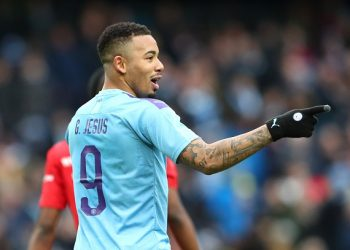 MANCHESTER, ENGLAND - JANUARY 26: Gabriel Jesus of Manchester City celebrates after scoring his team's fourth goal  during the FA Cup Fourth Round match between Manchester City and Fulham at Etihad Stadium on January 26, 2020 in Manchester, England. (Photo by Alex Livesey/Getty Images)