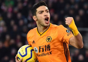 Wolverhampton Wanderers' Mexican striker Raul Jimenez celebrates after he scores the team's second goal during the English Premier League football match between Southampton and Wolverhampton Wanderers at St Mary's Stadium in Southampton, southern England on January 18, 2020. (Photo by Glyn KIRK / AFP) / RESTRICTED TO EDITORIAL USE. No use with unauthorized audio, video, data, fixture lists, club/league logos or 'live' services. Online in-match use limited to 120 images. An additional 40 images may be used in extra time. No video emulation. Social media in-match use limited to 120 images. An additional 40 images may be used in extra time. No use in betting publications, games or single club/league/player publications. /  (Photo by GLYN KIRK/AFP via Getty Images)