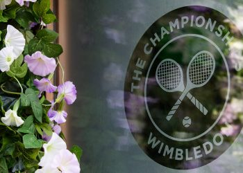 Wimbledon logo and planting. The Championships 2019. Held at The All England Lawn Tennis Club, Wimbledon. Day -2 Saturday 29/06/2019. Credit: AELTC/Ian Walton