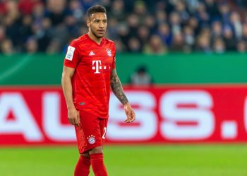 GELSENKIRCHEN, GERMANY - MARCH 03: (BILD ZEITUNG OUT) Corentin Tolisso of Bayern Muenchen looks on during the DFB Cup quarterfinal match between FC Schalke 04 and FC Bayern Muenchen at Veltins Arena on March 3, 2020 in Gelsenkirchen, Germany. (Photo by Mario Hommes/DeFodi Images via Getty Images)