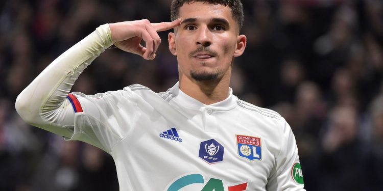 Lyon's French midfielder Houssem Aouar celebrates after scoring the opener during the French Cup quarter-final football match between Olympique Lyonnais and Olympique de Marseille at the Groupama stadium in Decines-Charpieu near Lyon, central eastern France on February 12, 2020. (Photo by ROMAIN LAFABREGUE / AFP) (Photo by ROMAIN LAFABREGUE/AFP via Getty Images)