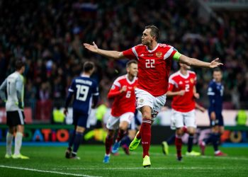 MOSCOW, RUSSIA - OCTOBER 10: Artem Dzyuba of Russia celebrates his 2nd goal during the UEFA Euro 2020 qualifier group I match between Russia and Scotland at Luzhniki Stadium on October 10, 2019 in Moscow, Russia. (Photo by Joosep Martinson - UEFA/UEFA via Getty Images)