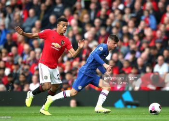 Manchester United's Mason Greenwood (left) and Chelsea's Mason Mount battle for the ball Manchester United v Chelsea - Premier League - Old Trafford 11-08-2019 . (Photo by  Nick Potts/PA Images via Getty Images)