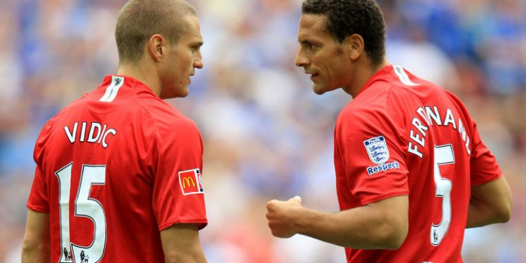 Manchester United central denfesive partnership Rio Ferdinand and Nemanja Vidic
