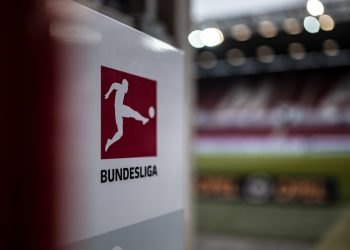 MAINZ, GERMANY - NOVEMBER 04: (EDITORS NOTE: Image has been digitally enhanced.) The Bundesliga logo is seen prior to the Bundesliga match between 1. FSV Mainz 05 and SV Werder Bremen at Opel Arena on November 4, 2018 in Mainz, Germany. (Photo by Simon Hofmann/Bundesliga/DFL via Getty Images)