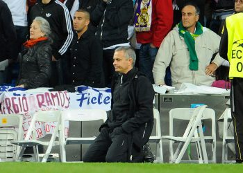 Real Madrid's Portuguese coach Jose Mourinho reacts during the penalty kicks of the UEFA Champions League second leg semi-final football match Real Madrid against Bayern Munich at the Santiago Bernabeu stadium in Madrid on April 25, 2012. Bayern Munich reached the Champions League final beating nine-time champions Real Madrid 3-1 on penalties after the two-legged match finished 3-3 on aggregate. Bastian Schweinsteiger slotted home the winning penalty in a thrilling shootout which saw Bayern lead 2-0 at one point after Cristiano Ronaldo and Kaka missed theirs for Real. AFP PHOTO / DANI POZO        (Photo credit should read DANI POZO/AFP/GettyImages)