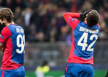 MOSCOW, Nov. 8, 2018 CSKA Moskva's Georgi Schennikov (C) reacts during the UEFA Champions League Group G match between Roma and CSKA Moskva in Moscow, Russia, Nov. 7, 2018. Roma won 2-1. (Credit Image: Global Look Press via ZUMA Press)