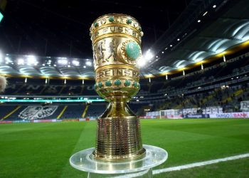 FILE PHOTO: Soccer Football - DFB Cup - Quarter Final - Eintracht Frankfurt v Werder Bremen - Commerzbank-Arena, Frankfurt, Germany - March 4, 2020  General view of the DFB Cup trophy inside the stadium before the match   REUTERS/Ralph Orlowski