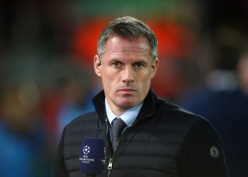 LIVERPOOL, ENGLAND - OCTOBER 02: Jamie Carragher during the UEFA Champions League group E match between Liverpool FC and RB Salzburg at Anfield on October 2, 2019 in Liverpool, United Kingdom. (Photo by Robbie Jay Barratt - AMA/Getty Images)