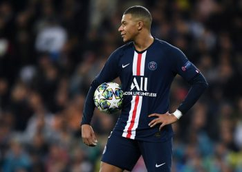 MADRID, SPAIN - NOVEMBER 26: Kylian Mbappe of Paris Saint-Germain looks on during the UEFA Champions League group A match between Real Madrid and Paris Saint-Germain at Bernabeu on November 26, 2019 in Madrid, Spain. (Photo by David Ramos/Getty Images)