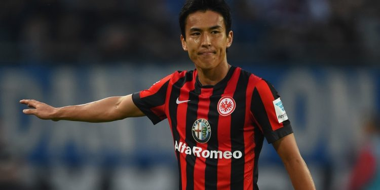 HAMBURG, GERMANY - SEPTEMBER 28:  Makato Hasebe of Frankfurt in action during the Bundesliga match between Hamburger SV and Eintracht Frankfurt at Imtech Arena on September 28, 2014 in Hamburg, Germany.  (Photo by Stuart Franklin/Bongarts/Getty Images)
