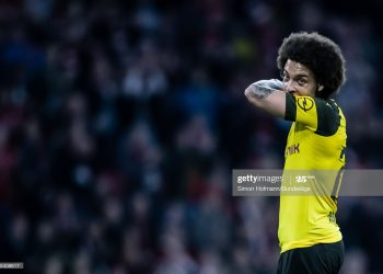 MUNICH, GERMANY - APRIL 06: (EDITORS NOTE: Image has been digitally enhanced.) Axel Witsel of Dortmund is dejected during the Bundesliga match between FC Bayern Muenchen and Borussia Dortmund at Allianz Arena on April 6, 2019 in Munich, Germany. (Photo by Simon Hofmann/Bundesliga/Bundesliga Collection via Getty Images)