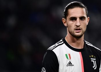 Juventus' French midfielder Adrien Rabiot reacts during the UEFA Champions League Group D football match Juventus vs Lokomotiv Moscow on October 22, 2019 at the Juventus stadium in Turin. (Photo by Marco Bertorello / AFP) (Photo by MARCO BERTORELLO/AFP via Getty Images)