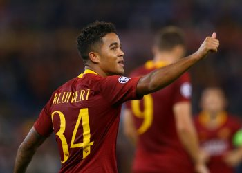 AS Roma v Viktoria Plzen : UEFA Champions League Group G Justin Kluivert of Roma celebrates after the goal of 4-0 scored at Olimpico Stadium in Rome, Italy on October 2, 2018. (Photo by Matteo Ciambelli/NurPhoto via Getty Images)