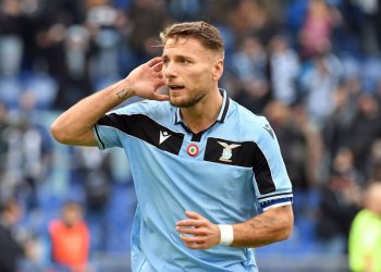 ROME, ITALY - JANUARY 18:  Ciro Immobile of SS Lazio celebrates a second goal a penalty during the Serie A match between SS Lazio and  UC Sampdoria at Stadio Olimpico on January 18, 2020 in Rome, Italy.  (Photo by Marco Rosi/Getty Images)