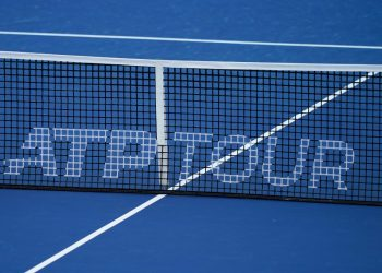 August 17, 2019, Cincinnati, OH, USA: CINCINNATI, OH - AUGUST 17: A detailed view of an ATP TOUR logo on a tennis net during the semifinal round of the Western & Southern Open at Lindner Family Tennis Center on August 17, 2019 in Mason, Ohio. (Photo by Adam Lacy/Icon Sportswire) (Credit Image: © Adam Lacy/Icon SMI via ZUMA Press)