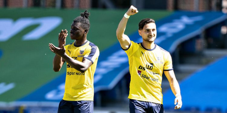 Hobros Edgar Babayan har scoret på straffespark til 1-0 i 3F Superliga-kampen mellem Randers FC og Hobro IK på Cepheus Park i Randers, 1. juni 2020.. (Foto: Henning Bagger/Ritzau Scanpix)