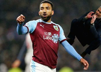 Burnley's Aaron Lennon during the Premier League match at Turf Moor, Burnley