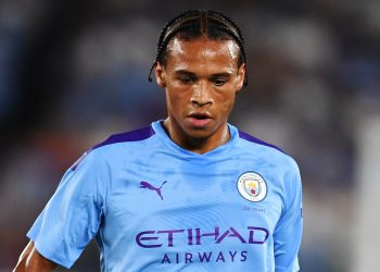 Manchester City's midfielder Leroy Sane runs with the ball during a friendly football match between English Premier League club Manchester City and Japan League Yokohama F. Marinos at the Yokohama Stadium, in Yokohama on July 27, 2019. (Photo by CHARLY TRIBALLEAU / AFP)        (Photo credit should read CHARLY TRIBALLEAU/AFP/Getty Images)