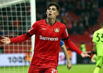 LEVERKUSEN, GERMANY - JANUARY 26: Kai Havertz of Leverkusen celebrates his team's first goal during the Bundesliga match between Bayer 04 Leverkusen and Fortuna Duesseldorf at BayArena on January 26, 2020 in Leverkusen, Germany. (Photo by Lars Baron/Bongarts/Getty Images)