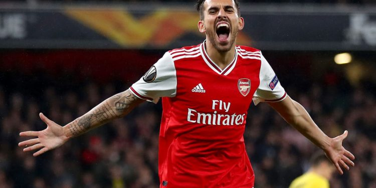 LONDON, ENGLAND - OCTOBER 03: Dani Ceballos of Arsenal celebrates after scoring his team's fourth goal during the UEFA Europa League group F match between Arsenal FC and Standard Liege at Emirates Stadium on October 03, 2019 in London, United Kingdom. (Photo by Julian Finney/Getty Images)