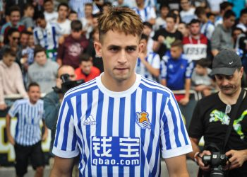Adnan Januzaj poses with the new t-shirt of the Real Sociedad on the day of its presentation at San Sebastian, Spain, on 13 July 2017. (Photo by Jose Ignacio Unanue/NurPhoto via Getty Images)