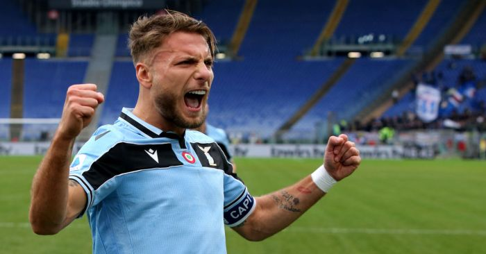 ROME, ITALY - JANUARY 18: Ciro Immobile of SS Lazio celebrates after his third goal 5-0 ,during the Serie A match between SS Lazio and  UC Sampdoria at Stadio Olimpico on January 18, 2020 in Rome, Italy. (Photo by MB Media/Getty Images)