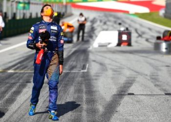 SPIELBERG, AUSTRIA - JULY 05: Third placed Lando Norris of Great Britain and McLaren F1 reacts during the Formula One Grand Prix of Austria at Red Bull Ring on July 05, 2020 in Spielberg, Austria. (Photo by Dan Istitene - Formula 1/Formula 1 via Getty Images)