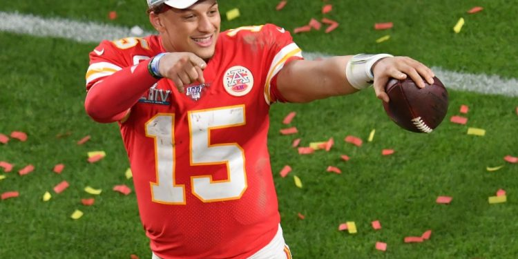 Feb 2, 2020; Miami Gardens, Florida, USA; Kansas City Chiefs quarterback Patrick Mahomes (15) celebrates after defeating the San Francisco 49ers in Super Bowl LIV at Hard Rock Stadium. Mandatory Credit: Steve Mitchell-USA TODAY Sports