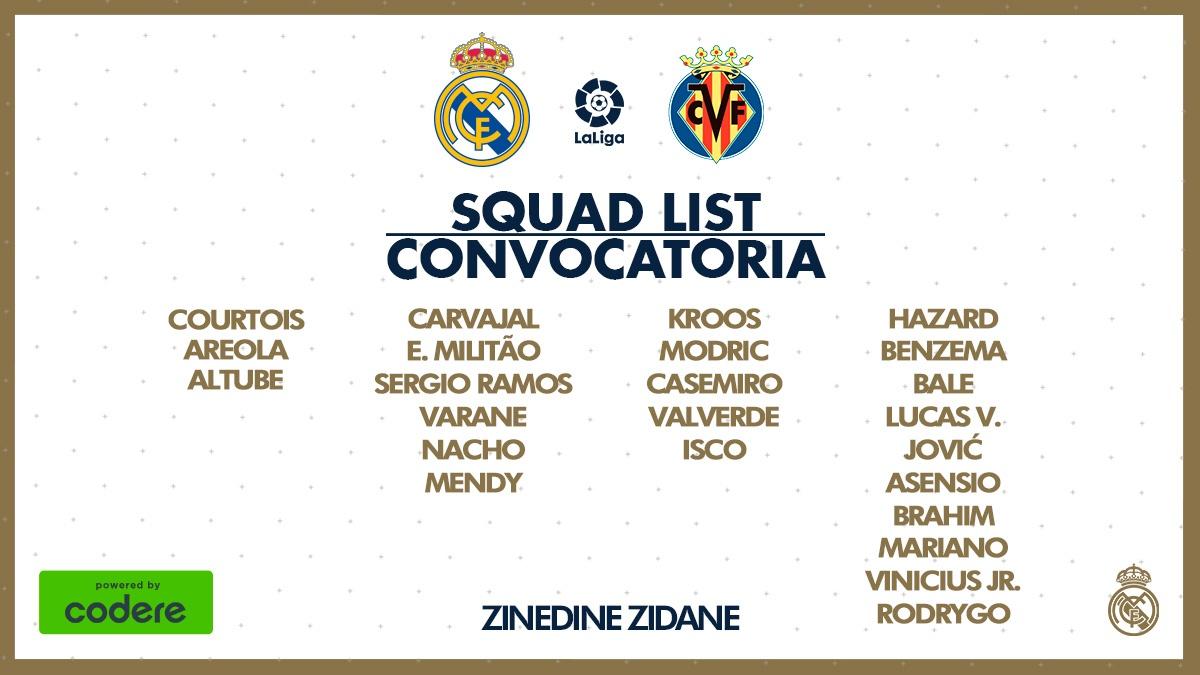 Заявка Реала на матч с Вильярреалом - Armsport.am