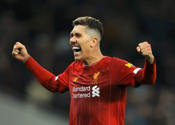 LONDON, ENGLAND - JANUARY 11: Roberto Firmino of Liverpool reacts after his sides victory during the Premier League match between Tottenham Hotspur and Liverpool FC at Tottenham Hotspur Stadium on January 11, 2020 in London, United Kingdom. (Photo by Richard Heathcote/Getty Images)