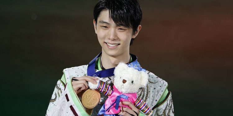 epa08204741 Gold medalist Yuzuru Hanyu of Japan celebrates during the medal ceremony for the Men Free Skating event of the 2020 ISU Four Continents Figure Skating Championships at Mokdong Ice Rink in Seoul, South Korea, 09 February 2020.  EPA-EFE/JEON HEON-KYUN
