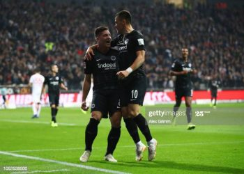 FRANKFURT AM MAIN, GERMANY - OCTOBER 19:  Luka Jovic of Eintracht Frankfurt celebrates after scoring his team's second goal with Filip Kostic of Eintracht Frankfurt (10) during the Bundesliga match between Eintracht Frankfurt and Fortuna Duesseldorf at Commerzbank-Arena on October 19, 2018 in Frankfurt am Main, Germany.  (Photo by Alex Grimm/Bongarts/Getty Images)