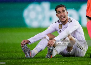 EIBAR, SPAIN - NOVEMBER 9: Lucas Vazquez of Real Madrid during the La Liga Santander  match between Eibar v Real Madrid at the Estadio Municipal de Ipurua on November 9, 2019 in Eibar Spain (Photo by David S. Bustamante/Soccrates/Getty Images)